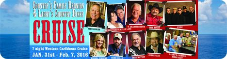 Country Family Reunion & Larry's Country Diner Cruise, 7-Night Western Caribbean Cruise between Saturday 30 January 2016 and Sunday 7 February 2016 / Artists appearing included John Conlee, Kelly Lang & T.G. Sheppard, T. Graham Brown, Moe Bandy, Exile, Rhonda Vincent, Mark Wills, Gene Watson and Johnny Lee, along with the cast of Larry's Country Diner