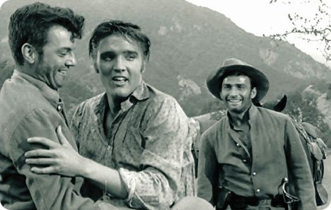 'Love Me Tender' (American black & white CinemaScope motion picture, released by 20th Century Fox on Thursday 15 November 1956) (William Campbell, Elvis Presley and James Drury)