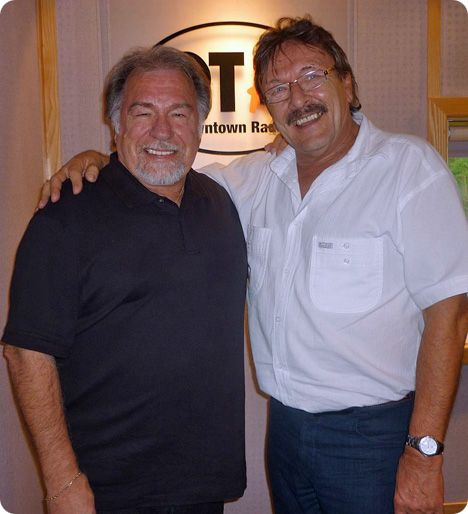 Gene Watson with Trevor (Big T) Campbell at Downtown Radio, Belfast, Northern Ireland