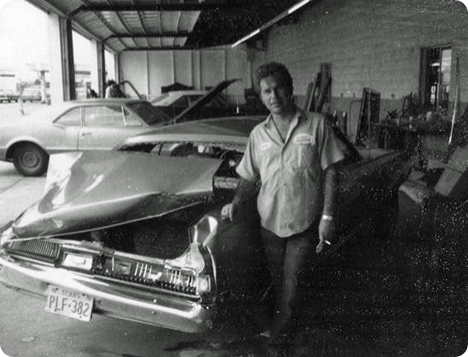Gene Watson in an autobody repair shop in Houston, Texas in 1961