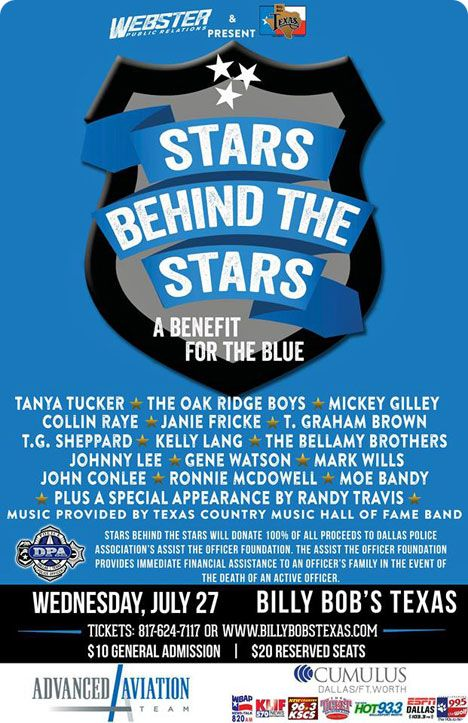 'Stars Behind The Stars' at Billy Bob's Texas, Historic Fort Worth Stockyards, 2520 Rodeo Plaza, Fort Worth, TX 76164-8208 on Wednesday 27 July 2016 / 100% of all proceeds were donated to 'The Assist The Officer Foundation', which was formed by the Dallas Police Association / 'The Assist The Officer Foundation' provided financial assistance to an officer's family in the event of a death of an active officer