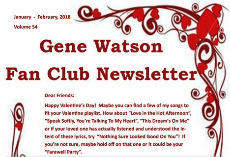 Gene Watson Newsletter / Volume 54 (January / February 2018)