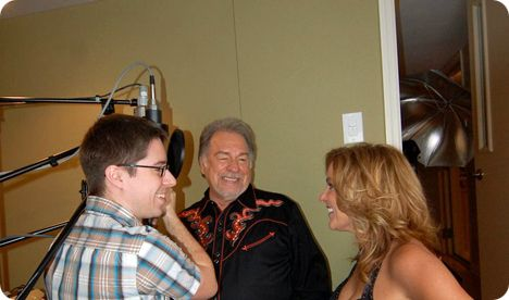 Gene Watson & Rhonda Vincent with (recording engineer) Joey Crawford, at Adventure Studios in Nashville, on Tuesday 8 March 2011