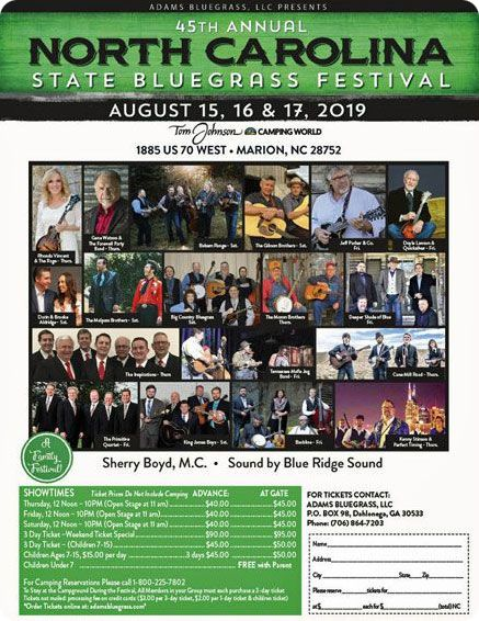 Gene Watson & The Farewell Party Band with Special Guest Rhonda Vincent & The Rage at 44th Annual North Carolina State Bluegrass Festival, Tom Johnson's Camping World, 1885 U.S. 70, Marion NC on Thursday 15 August 2019