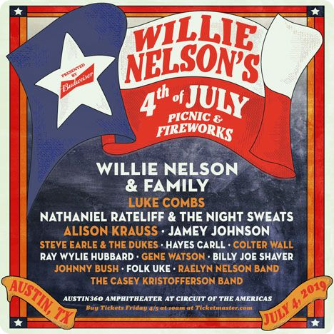 Willie Nelson's 4th of July Picnic, Austin360 Amphitheater, 9201 Circuit of The Americas Boulevard, Del Valle, TX 78617 on Friday 4 July 2019