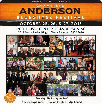 2nd Annual Anderson Bluegrass Festival, Anderson Civic Center, 3027 Martin Luther King Junior Boulevard, Anderson, SC 29625 in October 2018