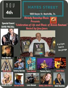 A Celebration of The Life and Music of Dennis Knutson at Hayes Street Hotel, 1909 Hayes Street, Nashville, TN 37206, on Sunday 4 November 2018 (6:00pm - 9:00pm)