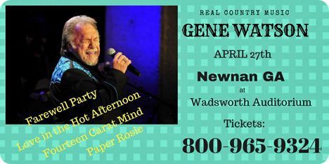 Gene Watson at Charles Wadsworth Auditorium, 25 Jefferson Street, Newnan, GA 30263 on Friday 27 April 2018