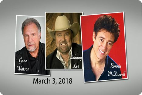 Gene Watson, Johnny Lee and Ronnie McDowell at Anderson Music Hall, Georgia Mountain Fairgrounds, 1311 Music Hall Road, Hiawassee, GA 30546 on Saturday 3 March 2018