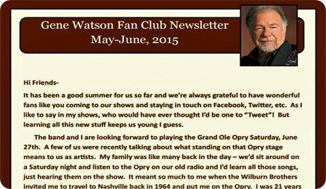 The Original Gene Watson Fan Site - Newsletters