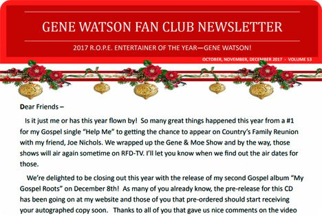 Gene Watson Newsletter / Volume 53 (October / November / December 2017)