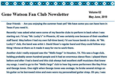Gene Watson Newsletter: Volume 62 (May - June 2019)