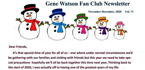 Gene Watson Newsletter: Volume 71 (Wednesday 16 December 2020)