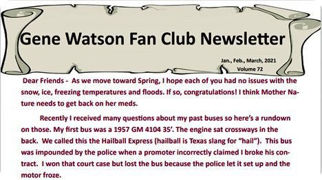 Gene Watson Newsletter: Volume 72 (Tuesday 2 March 2021)