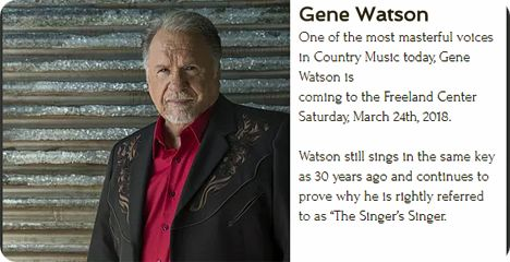 Gene Watson at Freeland Center For The Performing Arts, 808 North Ash Street, Bristow, OK 74010 on Saturday 24 March 2018
