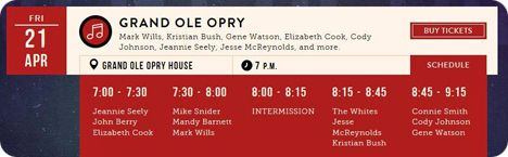 Gene Watson, Mark Wills, Kristian Bush, Elizabeth Cook, Cody Johnson, Jeannie Seely and Jesse McReynolds at Grand Ole Opry, 2804 Opryland Drive, Nashville, TN 37214 on Friday 21 April 2017  Grand Ole Opry, 2804 Opryland Drive, Nashville, TN 37214 (performances began at 7:00pm)