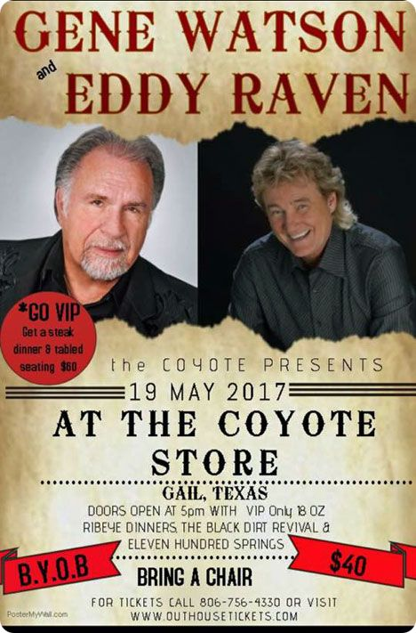 Gene Watson & Eddy Raven at Coyote Concert Series, The Coyote Store, 100 West Wasson Road, Gail, TX on Friday 19 May 2017