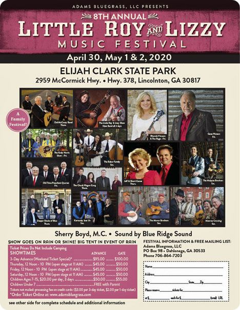 Little Roy & Lizzy Festival, Elijah State Park, 2959 McCormick Hwy., Lincolnton, GA (Performance time: 8:00pm - 9:30pm, Gene Watson & The Farewell Party Band, with special guest Rhonda Vincent
