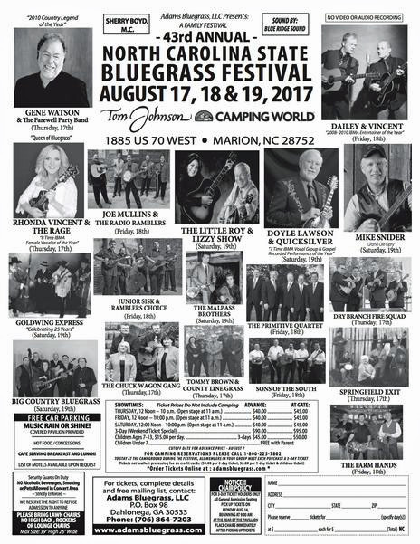 North Carolina State Bluegrass Festival, Tom Johnson's Camping World, 1885 US 70 West, Marion, NC 28752