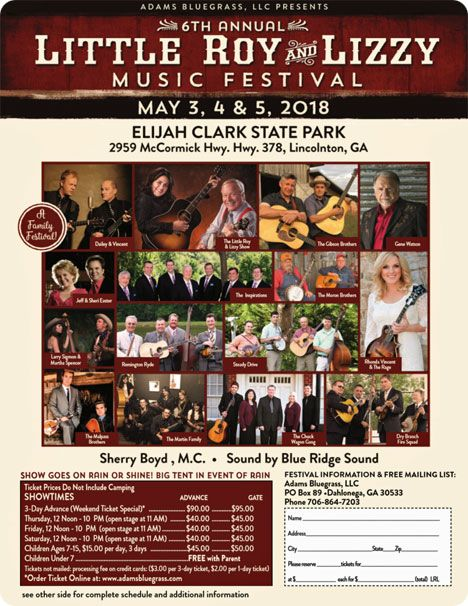 Gene Watson at The Little Roy & Lizzie Music Festival, Elijah Clark State Park, 2959 McCormick Hwy., Hwy 378, Lincolnton, GA 30817 on Friday 4 May 2018