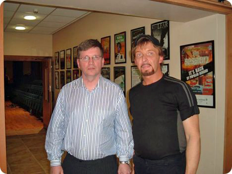 Sean Brady with Clinton Gregory, backstage at The Iontas Theatre in Castleblayney, County Monaghan, Ireland, on Sunday 14 October 2007, following Gene Watson & The Farewell Party Band's appearance