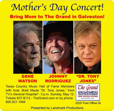 Gene Watson and Johnny Rodriguez (with host Brad Maule) at The Grand 1894 Opera House, 2020 Post Office Street, Galveston, TX 77550 on Sunday 12 May 2019 at 3:00pm