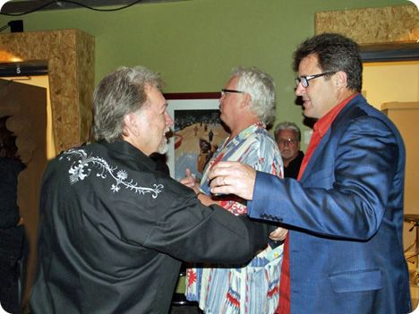 Gene Watson with Vince Gill (with T. Graham Brown and Con Hunley in the background) during the recording of 'Country's Family Reunion' in Nashville on Thursday 7 October 2010