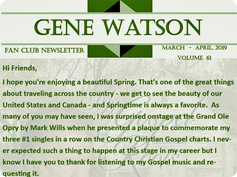 Gene Watson Newsletter: Volume 61 (March - April 2019)