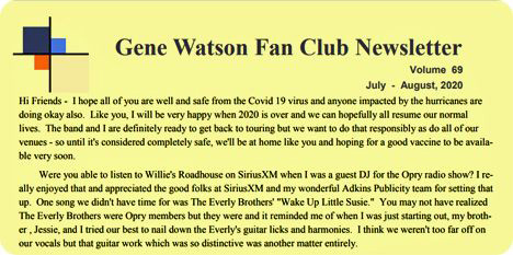Gene Watson Newsletter: Volume 69 (Friday 28 August 2020)
