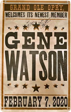 Gene Watson was officially inducted as a member of The Grand Ole Opry in Nashville on Friday 7 February 2020