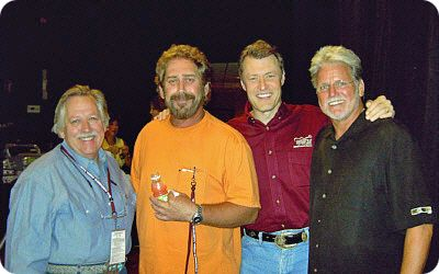 John Conlee, Earl Thomas Conley, Bill Cody (Nashville's WSM 650AM) and Con Hunley during a 'live' WSM 650AM broadcast from Ryman Auditorium in Nashville on Thursday 10 June 2004